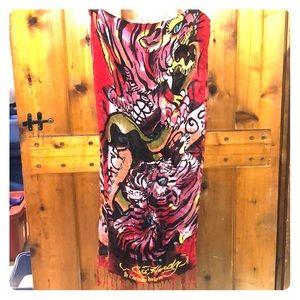 ED HARDY Graphic Print scarf
